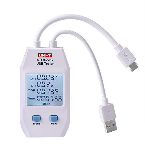UNI-T UT658 Digital USB Tester Voltmeter Amperemeter Spannung Strom Meter Kapazität Tester Monitor mit Hintergrundbeleuchtung (Duale Schnittstelle Typ A und Typ C)