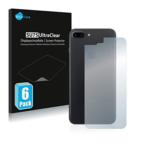 savvies Protector Pantalla Compatible con Apple iPhone 7 Plus Trasera (Superficie Entera) (6 Unidades) Pelicula Ultra Transparente