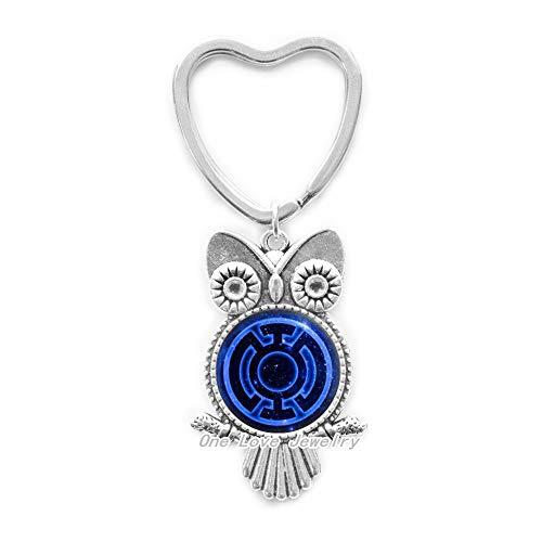 Linterna azul búho llavero, llavero azul linterna, llavero de búho de videojuegos, regalos de arte, para ella, para él, TAP097