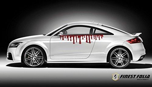 Finest-Folia Herunterlaufendes Blut 100cm Dekor Auto Aufkleber Sticker Frontscheibenaufkleber