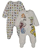 STAR WARS Baby Boys 2 Pack Sleep N' Play Footies Chewbacca Yoda R2-D2 Newborn