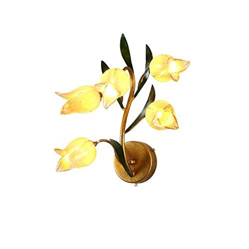 XinQing-Lámparas de Pared Lámpara de Pared de Hierro Americano Dormitorio Luz de Noche Pantalla de Cristal Creativo (Color : Tulip, Size : Warm Light)