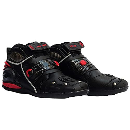 AOKUO Botas de Motocicleta, Botas de Motor Botines de Motocross con Protectores de cáscara Dura adjuntos, Botas integrales Hechas de Cierre de Velcro de Cuero Negro (Size : EU42)