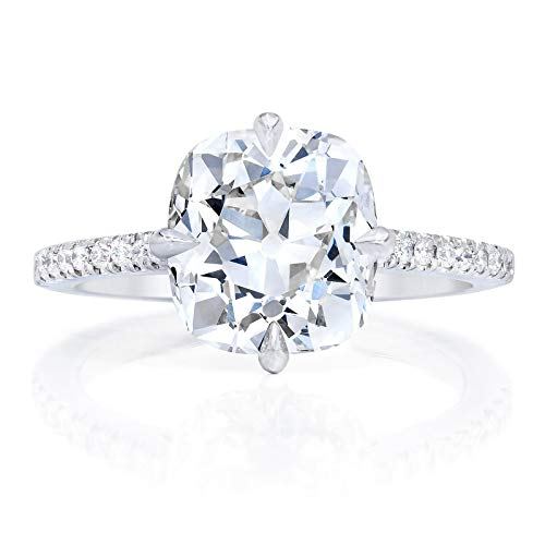 Bhumi Gems 3CT Cushion Old European Cut Colorless VVS1 Moissanite Engagement Ring for Women, Wedding Ring, Halo Ring, Solitaire Ring for Gift, Anniversary Promise Ring, Moissanite Ring, OEC (5)