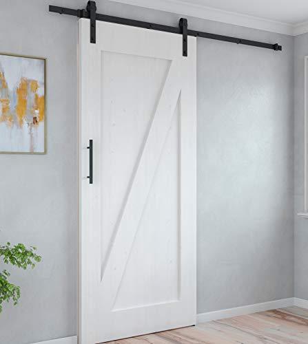 Emuca - Sistema para puertas correderas colgadas, cierre suave, tableros no incluidos, 60 Kg, acero, negro.