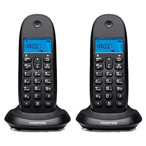 MOTOROLA Telefono fijo inalambrico digital DECT C1002LBEF+ Pack Duo - Color Negro - 2 unidades