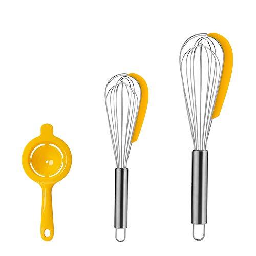 Mopoin Varillas para mezclar, 3 unidades, acero inoxidable, para cocina, incluye juego de varillas y separador de huevos para mezclar, batir, remover, utensilios de cocina (10 y 13 pulgadas)
