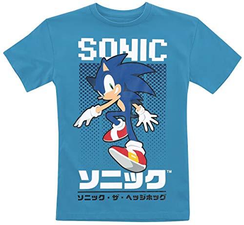 Sonic The Hedgehog - T-shirt maat 116 128 140 152 cm kinderen jongens en meisjes shirt blauw en grijs