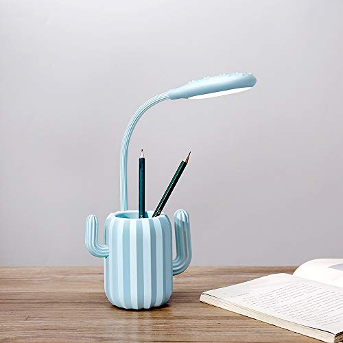 De enige goede kwaliteit Decoratie Roze En Blauw En Groene Cactus Tafellamp Creatieve Thuis Nieuwigheid Product Pen Houder Opslag Tafellamp Student Eye Lamp Led Opladen Tafellamp
