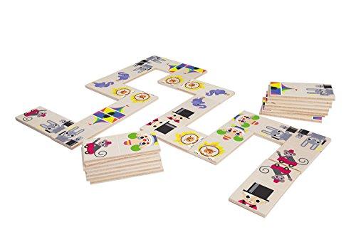 Lena 32167 - Holzspielzeug Domino Zirkus, Spielset mit 28 Dominosteinen aus 100% FSC Holz, Legespiel für Kinder ab 2 Jahre, Dominospiel mit lustigen Zirkusmotiven, Anlege Spiel für Kleinkinder