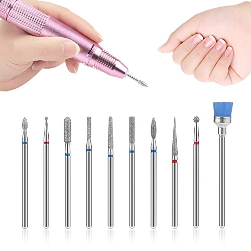 10 Stücke Nagelhaut Elektrischer Nagelfräser Nail Drill Bits,MWOOT Nagelfräser Schleifkopf Maniküre Pediküre Bits Werkzeuge