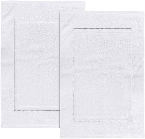 Utopia Towels Cotton Banded Bath Mats 2 Pack, [Not a Bathroom Rug], 21 x 34 Inches, White