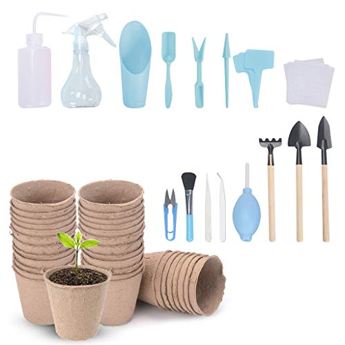 NOE Lot de 41 mini outils de jardinage pour plantes succulentes avec pelle à piquer + pelle + râteau à fleurs, etc.