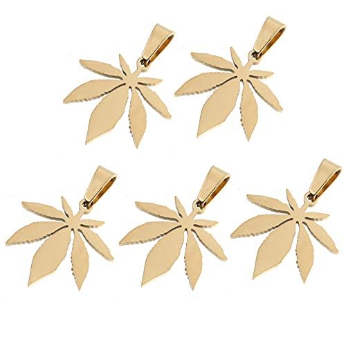 Amosfun 5 colgantes de hojas de arce, aleación tibetana, diseño de hoja de marihuana, colgante medicinal, cannabis y hojas para pendientes, pulseras, collares, joyas doradas