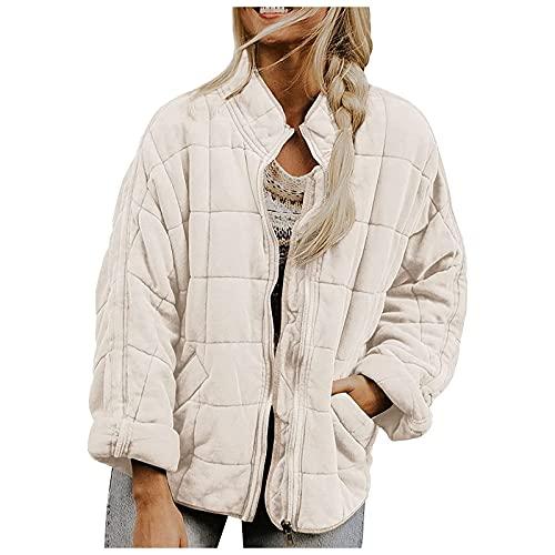 YESMAN Abrigo corto de invierno para mujer, de gran tamao, de piel de peluche, parka de invierno, ms grueso, clido, abrigo, cuello alto, con cremallera, casual, chaqueta de transicin, blanco, S
