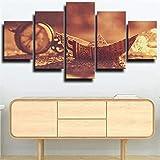 Impresiones en lienzo, arte abstracto, 5 lienzo, arte de pared, barco de Origami, barco de papel, pintura sepia, imagen, póster de impresión en HD, 150X80