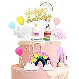 Decoracion tarta unicornio, cake topper decorar tartas globos arcoiris nube happy birthday banderines de pasteles fiesta de la fiesta de bienvenida al bebé cumpleaños niñas niños
