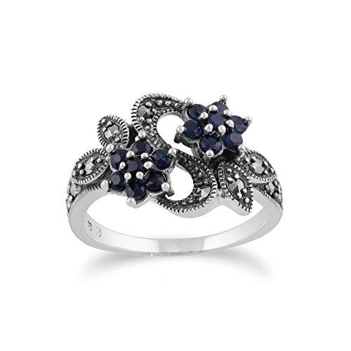 Gemondo Jugendstil Ring 925 Sterlingsilber 0,56 Karat Saphir & Markasit Blumen Ring