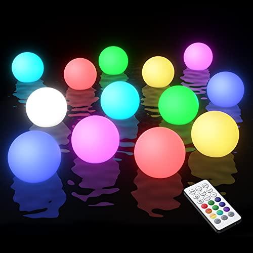 Smarich Poollicht LED Spa Licht, IP68 Wasserdichtes Whirlpool Licht mit RF-Fernbedienung, RGB Farbwechsel Badewanne Licht, Leuchtendes Nacht Licht Ball für Baby, Garten, Innen der Wohnkultur(2 Stück)