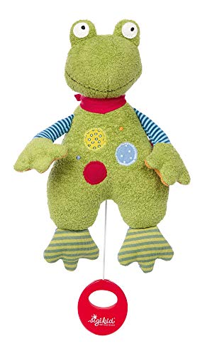 SIGIKID Mädchen und Jungen, Spieluhr zum Aufziehen, Frosch Flecken Frog, Babyspielzeug, empfohlen ab  0 Monaten, grün, 39256