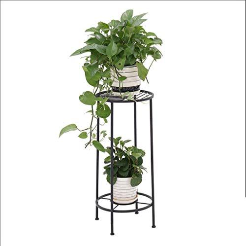KLMNV;KLBVB Stehen Blumen 2 Tiers Eisen Blumentopf Steht, tragbares Sofa Side Kaffeetasse Obstschale Anzeigen-Regal 27,6 * 12,6 * 12.6in (Farbe: Schwarz) (Color : Black)