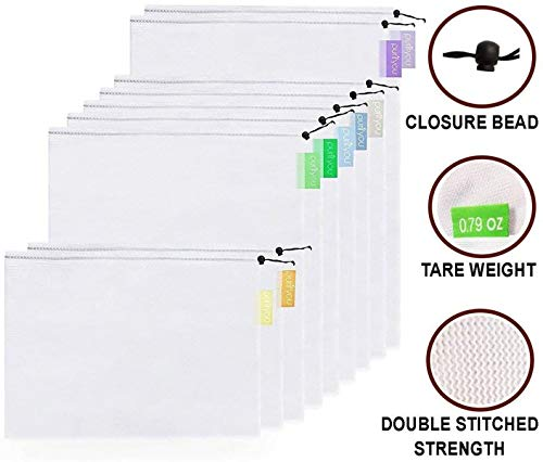 purifyou Reusable Grocery & Produce Mesh Bags with Pastel Color Coded Tare Weight Tags. for Grocery Shopping, Fruits, Veggies, and Snack Bags - Small, Medium, Large (Set of 9)
