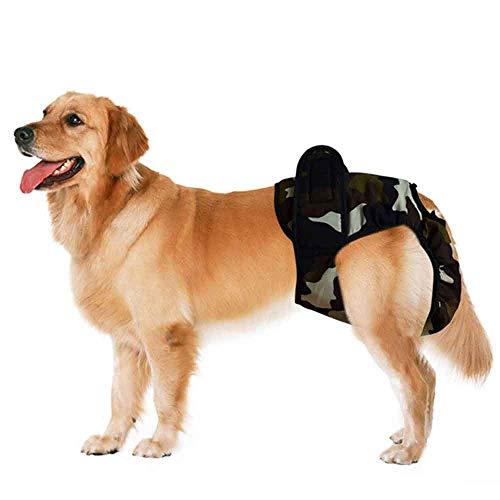Smniao Hundewindeln für Hündinnen und Rüden Hygieneunterhose Groß Haustier Weibliche Windel Schutzhose Unterwäsche Hunde Bauchgürtel (XXL, Tarnung)