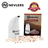 Nevlers All Natural Ceramic Himalayan Salt Inhaler with All Natural Himalayan Pink Crystal Salt - Great for Allergy and Asthma Relief - Handheld and Portable - White -