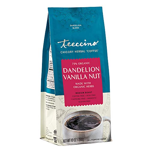 Teeccino Coffee Alternative – Dandelion Vanilla Nut – Detox Deliciously with Dandelion Herbal Coffee That's Prebiotic, Caffeine Free & Gluten Free, Medium Roast, 10 Ounce