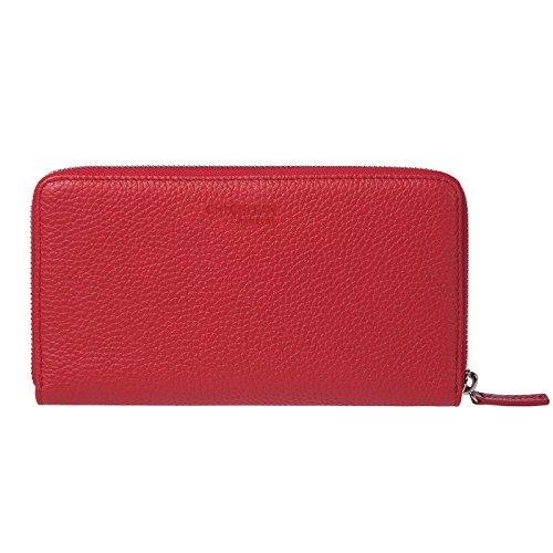 CHI CHI FAN Portemonnaie Business - Rot   Große Damen Geldbörse aus echtem Leder   Top Qualität und stylish-klares Design treffen auf maximale Funktion und Sicherheit   Platz für Visiten-Karten