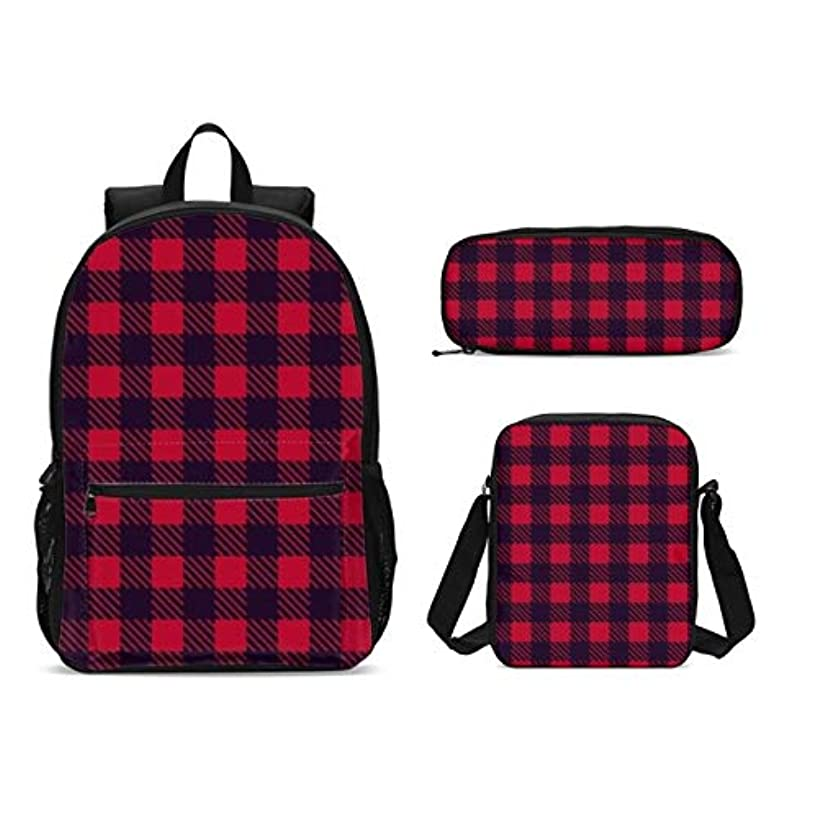 KiuLoam Black Red Geometrical Plaid Kids Backpack Set 3 Piece Back To School 17 inch Plus Book Bag with Shouder Bag Pencil Case for Boys Girls 1-6th Grade