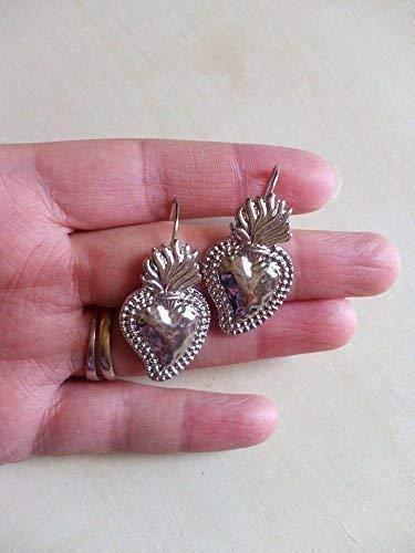 orecchini ex voto cuore sacro ottone argento milagros messicano religione sicilia barocchi eleganti