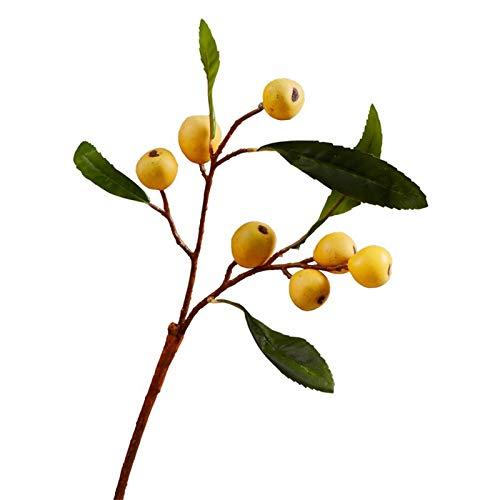 Imagen de flores falsas Flor de pulpa de fruta artificial, una sensación real de ramas de frutas artificiales de loquat, decoración de flor de jarrón de estilo chino para frutas de bayas artificiales