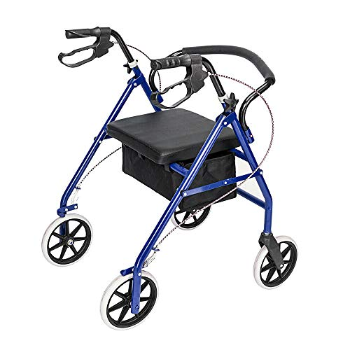 Ramco Foldable Medical Bariatric Rolling Walker Rollator Adult Durable Sturdy Heavy Duty Ergonomic 450LB Capacity Lightweight Height Adjustable Storage for Home Travel Indoor Outdoor Elderly Handicap