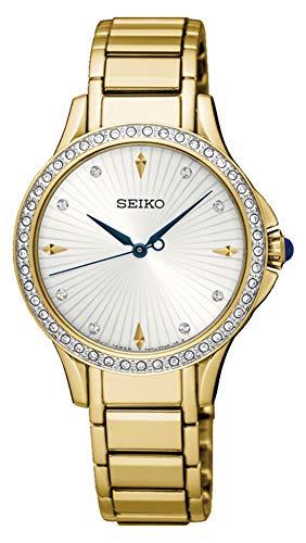 Seiko dames analoog kwarts horloge met roestvrij staal gecoate armband SRZ488P1