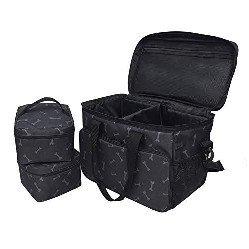 Reisetasche für Hundezubehör, Katzen Haustier Aufbewahrungstasche Futter, Snacks, Spielzeug und Andere Zubehörs Rucksack Isolierte Tasche mit 2 Tragetaschen, ideal für Reisen, Camping Tagesausflüge