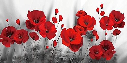 PRWJH Erwachsene Puzzles, rote Mohnblumen Blume Leinwand Malerei Aquarell Holz Puzzle, Dekoration für Wohnzimmer-1000 Stücke
