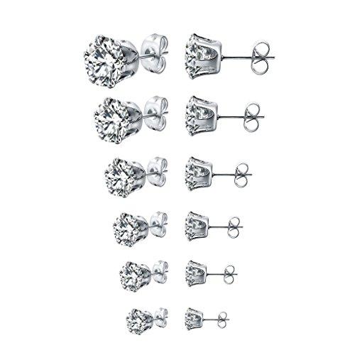 Long Way Stainless Steel Stud Earrings set Cubic Zirconia Inlaid,3mm-8mm 6Paris
