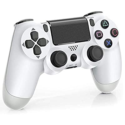 Wireless Controller for PS4, Game Controller for Playstation 4 with 950 mAh Battery/Vibration Turbo/Built-in Speaker/USB Cable/Mini LED Indicator—White
