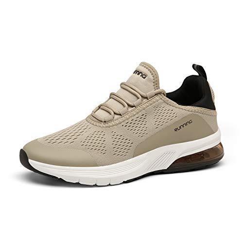 FOGOIN Herren Damen Laufschuhe Atmungsaktiv Leichtgewichts Straßenlaufschuhe Sneaker Sportschuhe Turnschuhe, 40 EU, Braun