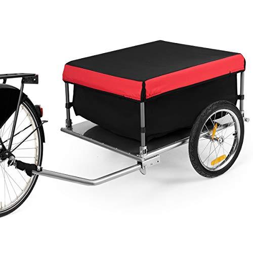 GOPLUS Fahrradanhänger aus Stahlrohr, Faltbarer Lastenanhänger, Transportanhänger mit Abnehmbarer Abdeckung, bis zu 40 kg Belastbar, für Reisen Einkaufen Laden, für Fahrräder Mountainbikes Falträder