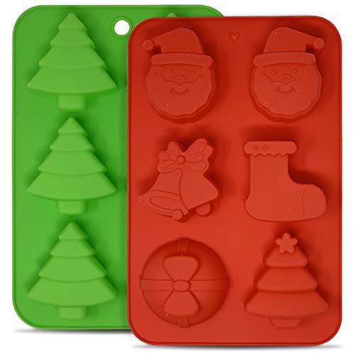 2 Moldes de Silicona Navideños para cupcakes, gelatina, muffins - Moldes de Navidad de chocolate y dulces,Santa Claus,árbol de Navidad, campanas, calcetines