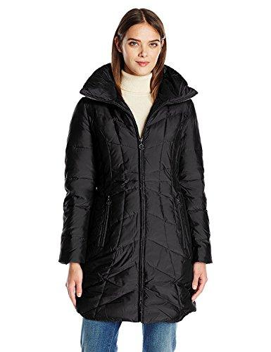 Anne Klein Women's Stand Collar Down Puffer Coat, Black, Large