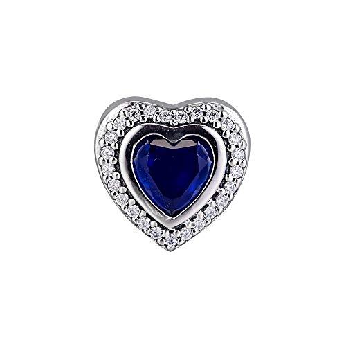 Pandora Charms para Mujeres Cuentas Plata De Ley 925 Sparkling Night Blue Love Heart Jewelry Collares De Moda Compatible con Pulseras Europeos Collars