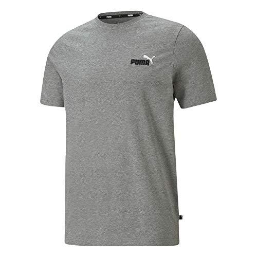 PUMA Herren 587184 Shirt Baumwolle Uni Sport-Shirt Kurzarm Rundhals Rippenbesatz, Groesse 52/54, grau