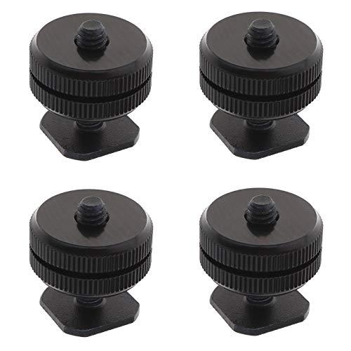 4 tornillos adaptador de montaje de 1/4 con kit de doble tuerca, trípode de cámara réflex digital