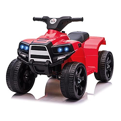 HOMCOM Quad Eléctrico para Niños +18 Meses Cuatrimoto Infantil a Batería 6V con Faros Bocina Velocidad 0-3 km h Avance y Retroceso 65x40x43 cm Rojo