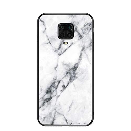 Funda para Xiaomi Redmi Note 9S Marmol Case Tapa Trasera de Cristal Templado con TPU Edge Carcasa para Xiaomi Redmi Note 9S (Blanco)