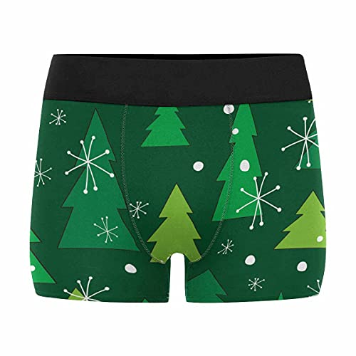 InterestPrint Casual All Over Print Underpants Tagless Boxer Briefs for Youth Pine Trees and Snowflakes S Underpants Elastic
