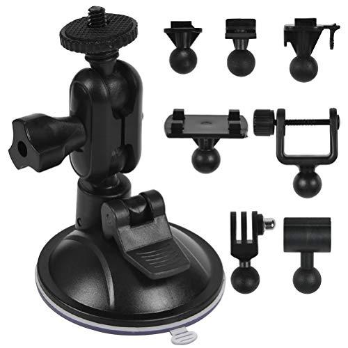 RODPLED Soporte de Ventosa para Coche para Grabadora de Vídeo en Parabrisas y Salpicadero, con 8 Articulaciones para Conducir Videocámaras GPS